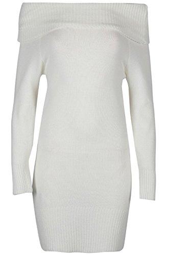 Be Jealous Damen Frauen Tunika lange Ärmel aus der Schulter Krause Bardot gerippte Rüsche Pullover strickte Minikleid Creme