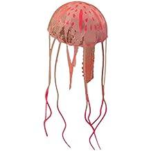 Befaith Efecto Brillante Acuario de pescado de medusas artificiales Decoración de acuario mini ornamento submarino naranja