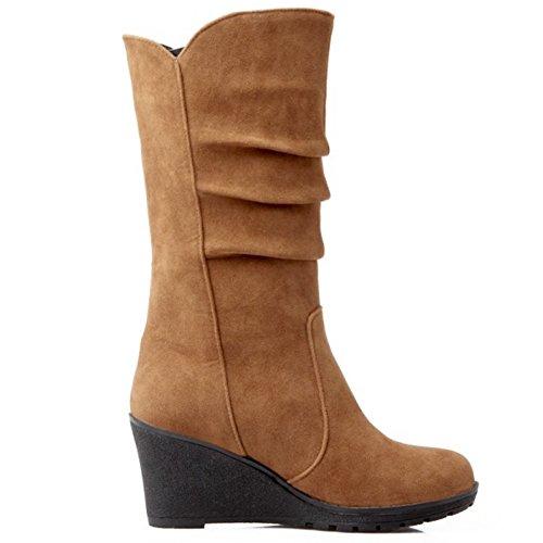 Zanpa Femmes Chaussures Mode Compenses Moyens Bottes brown