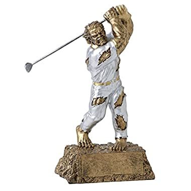Monster Golf Trophy – Detailed Gold and Silver Finish – Engraved Plates by Request – Perfect Golf Award Trophy – Hand…