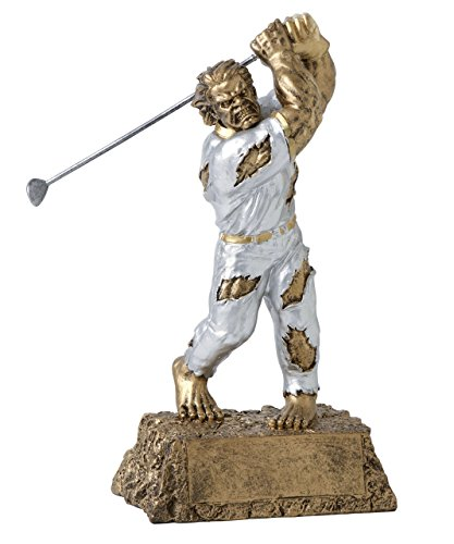 Monster Golf Trophy – Detailed Gold and Silver Finish – Engraved Plates by Request – Perfect Golf Award Trophy – Hand Painted Design – Made by Heavy Resin Casting – Great for Recognition