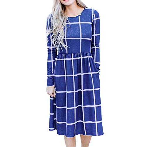 empire linie kleid Smile Fish Damen Langarm Grid Tunika Midikleid Casual Empire-Taille Knielangen Kleider mit Taschen(Blau,XL)