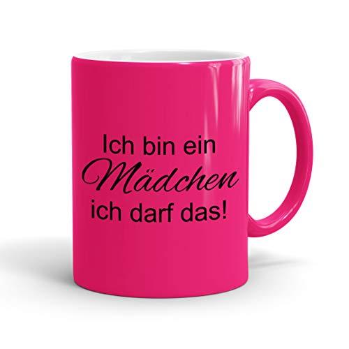 True Statements Lustige Tasse Ich bin ein Mädchen ich darf das - Neon Kaffee-Tasse mit Spruch -...