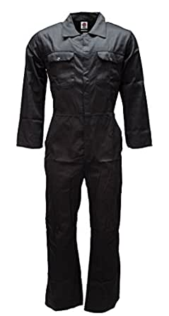 "WWK Mens Boilersuits Overalls Coverall Mechanic Work College (42"", Black)"