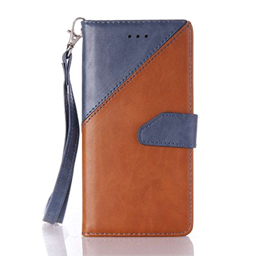 Uming® Muster Druck PU Kasten Fall Holster Abdeckung Hülle Case ( Hit color Black & white - für IPhone 5S 5 5G SE IPhone5S IPhoneSE ) Artificial Künstlich Flip mit Bracket Standplatz Stander Halter Kr Hit color Deep Blue & Brown