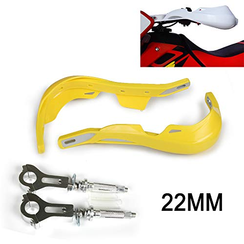 An Xin Motorrad Handprotektoren, 22 mm 7/20,3 cm Universal Hand Brush Guards Protector für Motocross Suzuki RMZ250 DRZ400 RMZ450 Dirt Bike MX Supermoto Racing ATV Quad Kayo (gelb)