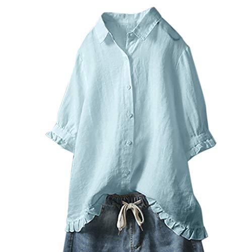CAOQAO Oberteile Hemd Lose Sweatshirt Damen-Spitze-Knopf Drehen Unten Kragen-Mittlere HüLsen-Normallack-T-Shirt Spitzenbluse Um (Werbe Halloween Kostüme)