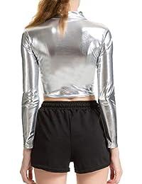 Donna Ecopelle Metallizzato Lucidi Collo Manica Lunga Sexy Crop Tops per  Nightclub Party S-2XL 05a6a41c607