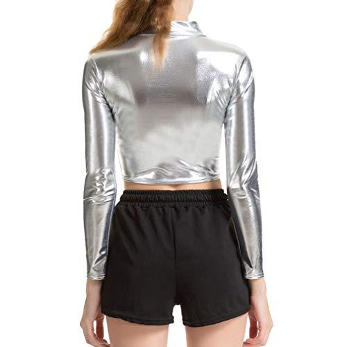 WEIMEITE Frauen Metallic Wetlook Leder Langarm Crop Top Clubwear Silber S