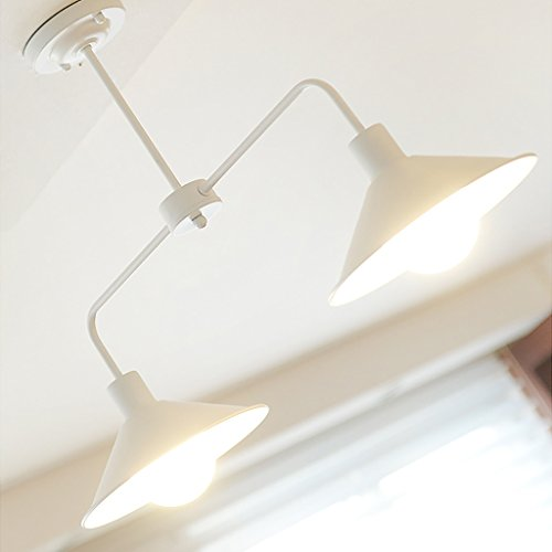 Lihuideng Nordic minimalistischen kreative Kronleuchter Schlafzimmer Schmiedeeisen Lampen (Farbe : Weiß) - Weiß Schmiedeeisen Kronleuchter