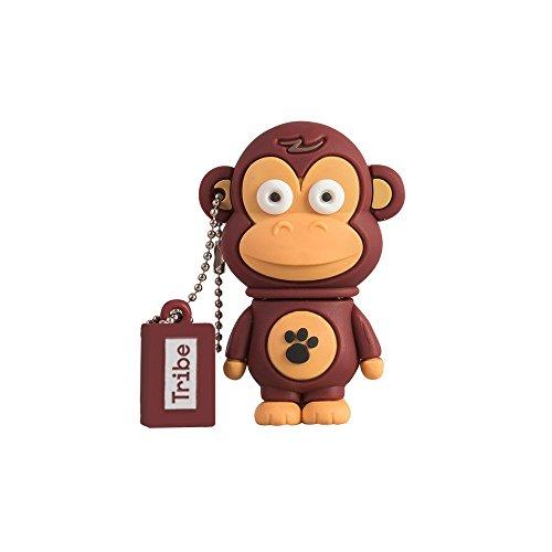 Tribe Animals Frank Singe Clé USB 16 Go Fantaisie Pendrive USB Flash Drive 2.0 Originale Stockage Memoire, Idee Cadeau Figurine 3D, Stockage USB en PVC avec Porte-Clés – Marron