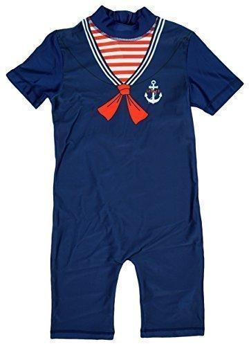 Jungen Little Matrose Nautisch alles in eins Badeanzug Sonnenschutz Kostüm größen von 1.5 to 5 Years - Blau, 2-3 Years