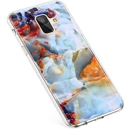 Uposao Kompatibel mit Samsung Galaxy A6 2018 Hülle Silikon Transparent Dünn Durchsichtige Schutzhülle Klar TPU Handytasche Clear Case Cover Stoßfest Anti-Scratch Bumper,Marmor Gold Blau