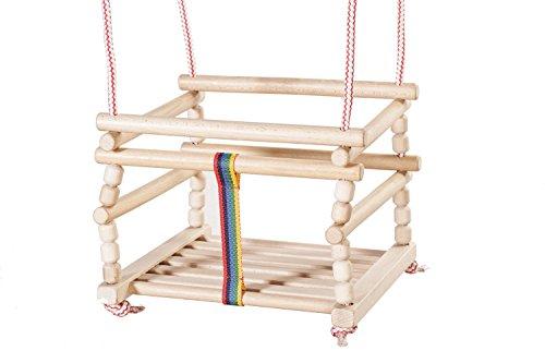 Columpio de seguridad gran cuerda de madera interior o al aire libre para niños, niños, bebés (Natural)