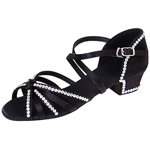 Oasap Girl's Peep Toe Rhinestone Low Heels Latin Dance Sandals Black