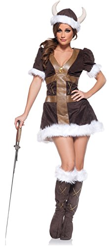 Adult Viking Kostüm - Underwraps Viking Warrior Princess Girl Dress Kostüm Adult