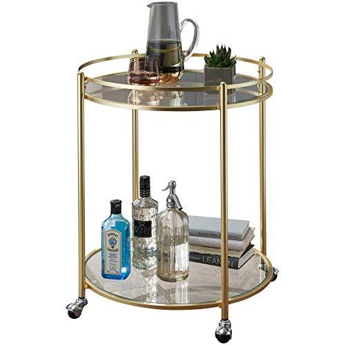 Wohnling James Servierwagen, Glas, Gold, 57x57x75 cm