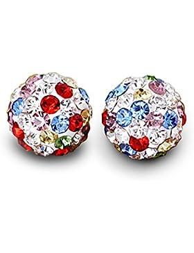 Sieben Arten von Farbmischung Zirkonia Kristalle Ball 925 Sterling Silber Ohrringe Schmuck