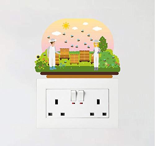 WWWLD Ein Kleines Mädchen Mit Einer Topfpflanze In Ihrer Hand Pvc Wandaufkleber Farbige Schalter Aufkleber Zimmer Schlafzimmer Wohnkultur 2pc