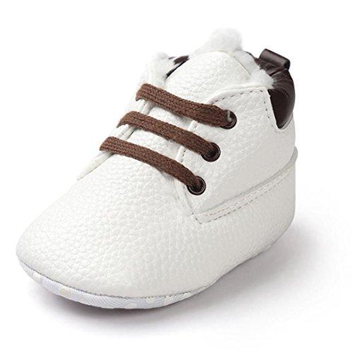 kingko® bébé Toddler semelle souple Chaussures en cuir pour bébé garçon bottes Chaussures Fille Toddler Blanc
