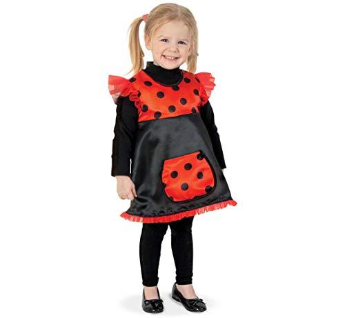 KarnevalsTeufel Kinderkostüm Kleid Käferchen schwarz/rot mit schwarzen Pünktchen Marienkäfer Glückskäfer Gr 86 - 104 (98)