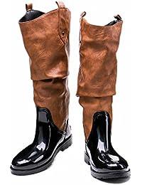 Kitzen Botas De Lluvia Impermeables para Mujer Ajusta Lluvia Wellington Fashion Original Tall Muck Lado De Invierno...