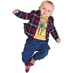 para la ropa de los muchachos,RETUROM bebé fresco ropa de abrigo al bebé recién nacido de la tela escocesa + pantalones + Camisas de ropa fija el juego de 3 PC (80)