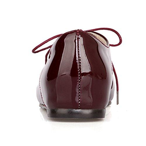 RAZAMAZA Scarpe Donna Stringate Basse Moda Wine Red