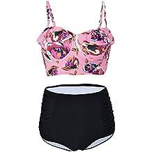 Choose Women Femme Maillot de Bain Rétro Vintage Push-up Taille Haute 2  pièces Bikini f8f63e2724a6
