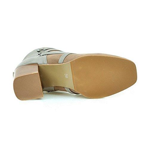VogueZone009 Damen Gemischte Farbe Quadratisch Zehe Stiefel mit Metall Nägel Aprikosen Farbe