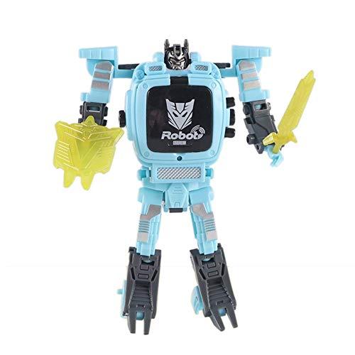 Kinder Roboter Spielzeug Uhr, Digitaluhr Kinder 2 in 1 elektronische Transformatoren Spielzeug Uhr Roboter Uhr für Schule Geschenk (4 Farben)