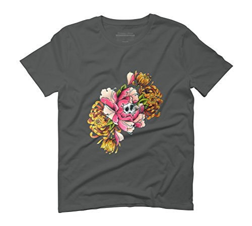 Peony skull Men's Graphic T-Shirt - Design By Humans Anthracite