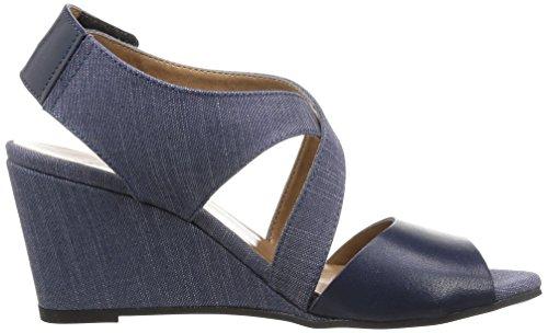 G-STAR RAW Gable Salon Strap Damen Keil Sandalette Navy Lthr & Textile w/Blue
