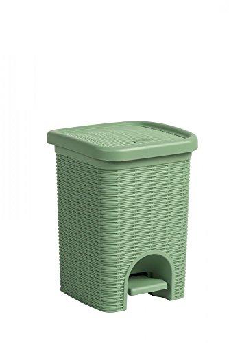 Tretmülleimer im Rattan Design mit herausnehmbaren Einsatz und 6 Liter Volumen in der Trendfarbe Grün - für das Bad, die Küche oder das Büro