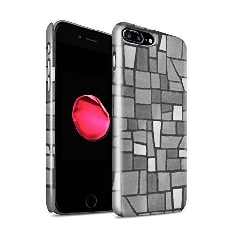 STUFF4 Glanz Snap-On Hülle / Case für Apple iPhone 8 Plus / Grey/White Muster / Mosaik Fliese Kollektion Grey/White