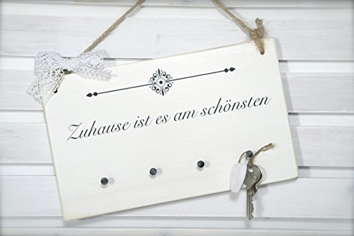 Schlüsselleiste/Schlüsselbrett mit 4 Haken für den Eingangsbereich/mit Wunschtext