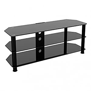 "Black Gloss Glass TV Stand Suitable For LCD LED TVs 20 40 42 47"" Cable Management TV Unit"