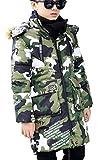 Ghope Kinder Winterjacke Camouflage mit Fell Kapuze für Jungen Mädchen Kinderweste Warm Herbstjacken Wintermantel,Grün 160cm
