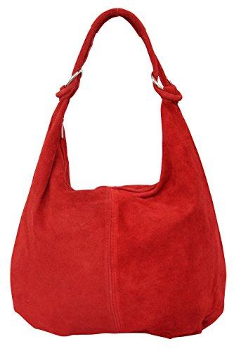 (AMBRA Moda Damen Wildleder Schultertasche,Damen Handtasche, Beutel, Hobo-Bags, Shopper, Beuteltaschen, Trend-Bags,Veloursleder, Suede, Ledertasche,DIN-A4, 42cm x 35cmx 3cm WL803 (Rot))