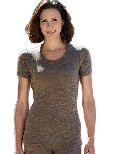 Damen Unterhemd kurzarm, Wolle Seide, 4 Farben, Gr. 34-48 Walnuss