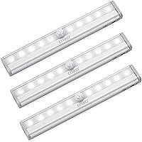 [3 Pack] AMIR Lampe Détecteur de Mouvement, 10 LED Detecteur Mouvement Lampes de Nuit Lampe Escalier Lampe Armoire Veilleuse Placard, Alimenté par Batterie (Non Inclus), Facilité d'installation, Blanc