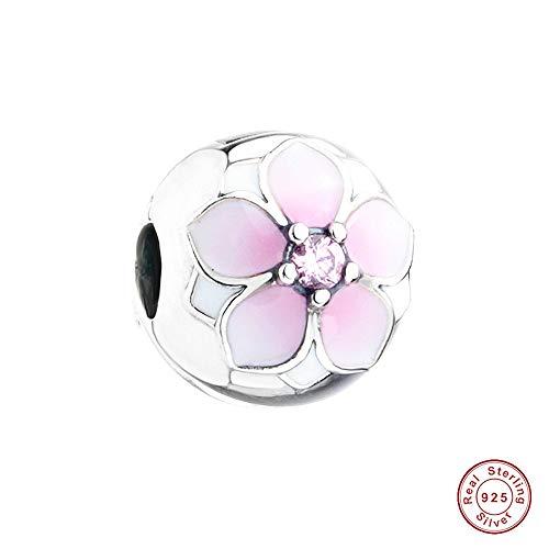 PANDOCCI 2017 Frühlings-Kollektion DIY Passend für Pandora Original-Armbänder 925 Sterlingsilber Magnolia Bloom Clip-Charme-Korn-Schmucksachen