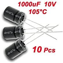 SODIAL(R) 10 x Condensador Electrolitico Radial 1000uF 10V 105C 8x11mm