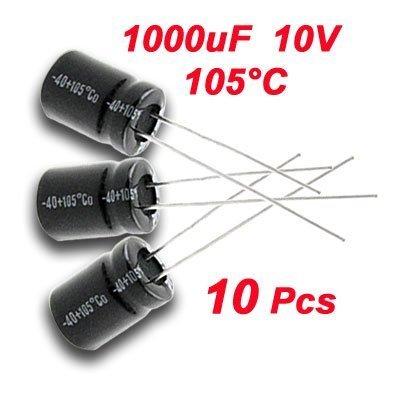 SODIAL(R) 10 x 1000uF 10V 105C Radial Elektrolyt Kondensator 8x11mm - 10 Kondensator