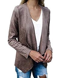 Simple-Fashion Primavera e Autunno Donne Cappotto Elegante Moda Pelle  Scamosciata Finta Outerwear Giacca Irregolare 891e39b4617