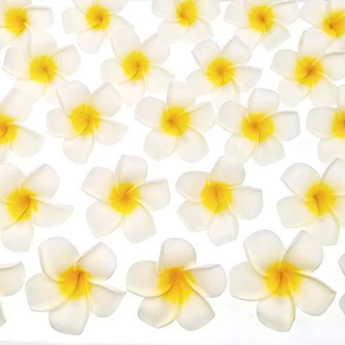 JZK 50x Künstliche Frangipani Plumeria Hawaiian Haarclip Blumen Haar Clipps für Hawaii Luau-Party Sommerstrand Hochzeit Party Pool-Party