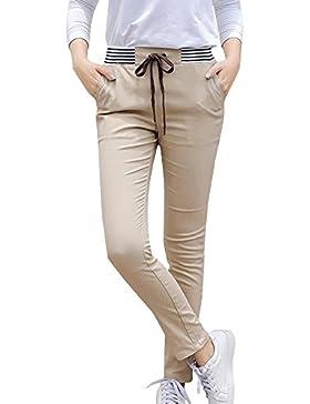 Mujer Casual Pantalones Ajustados Elasticos Pantalon Largos Con Cintura Elástica