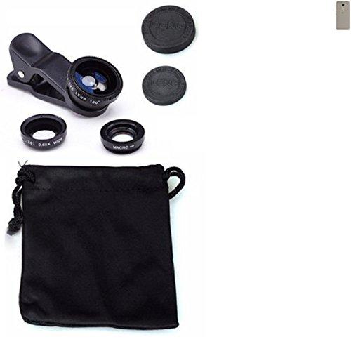 K-S-Trade Für BQ Aquaris VS 3in1 Clip-On Kamera Adapter für BQ Aquaris VS Macro Weitwinkel FishEye Fischauge Objektiv Linse Smartphone Objektivset