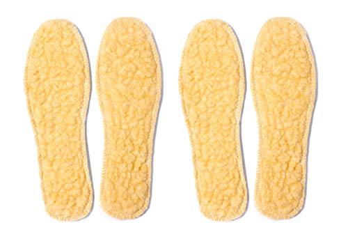 Knixmax 2 Pairs Of Lambswool Insoles Warm Wool Fleece Shoe Inserts Winter Inner Soles Comfort for Women Kids