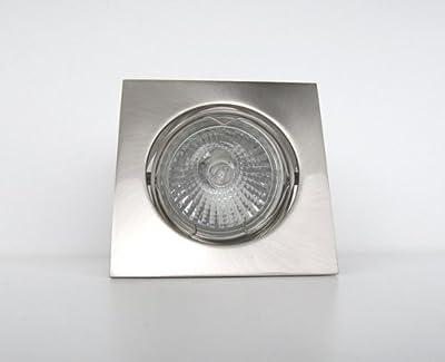 10er-Set Halogen-Einbaustrahler QUADROS 230V - Farbe: Edelstahl gebürstet - dimmbar von EU - Lampenhans.de